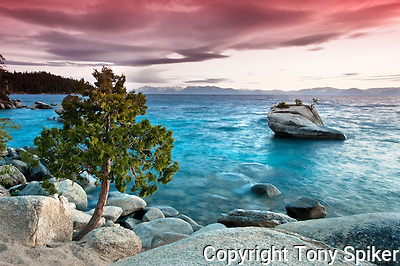 &quot;Bonsai Rock Sunset 4&quot; - The sun sets over Bonsai Rock on the Eastern Shore of Lake Tahoe (Tony Spiker)
