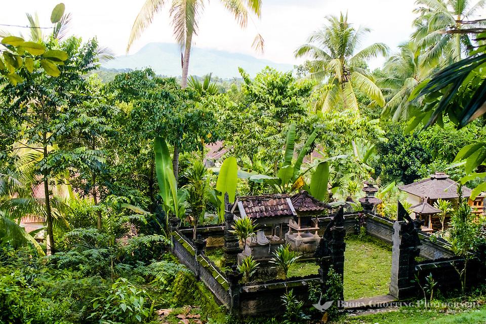 Bali, Karangasem, Amlapura. View from the Rendang to Amlapura road, a family temple in the foreground. (Photo Bjorn Grotting)