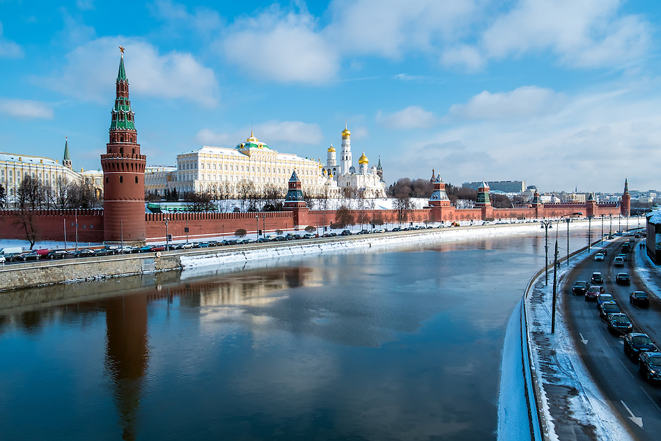 View of the Kremlin from the banks of the Moskva River in Moscow, Russia. (Daniel Korzeniewski)