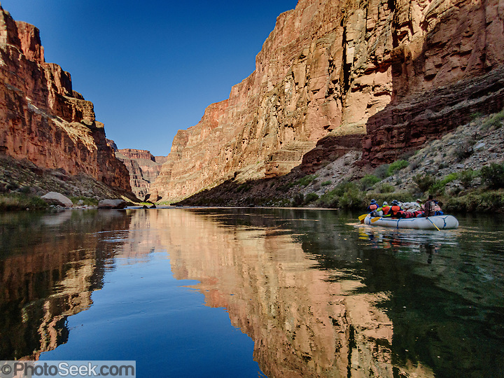 Canyon walls reflect in the Colorado River on Day 13 of 16 days rafting 226 miles down Grand Canyon National Park, Arizona, USA. (© Tom Dempsey / PhotoSeek.com)