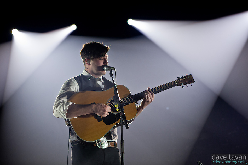 "Marcus Mumford opens with ""Babel,"" the title track of Mumford & Sons' latest Grammy winning album at the Susquehanna Bank Center on February 16, 2013. (Dave Tavani)"
