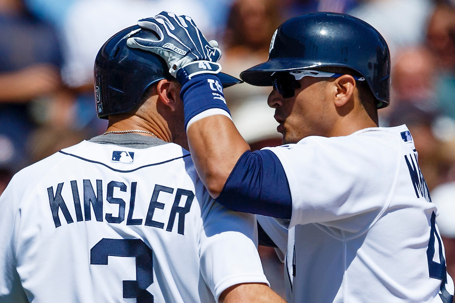 Aug 6, 2015; Detroit, MI, USA; Detroit Tigers designated hitter Victor Martinez (41) celebrates his two run home run with second baseman Ian Kinsler (3) in the fifth inning against the Kansas City Royals at Comerica Park. Mandatory Credit: Rick Osentoski-USA TODAY Sports (Rick Osentoski/Rick Osentoski-USA TODAY Sports)