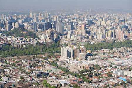 Aerial view of the Santiago city with the blue smog from the San Cristobal Hill, Santiago, Chile. (Dmitry Chulov)