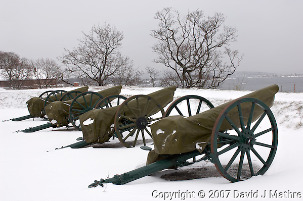 Artillery Guarding Oslo at the Akeshus Fortress. Winter in Oslo Norway. (David J Mathre)