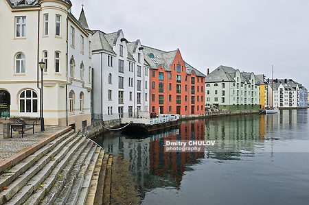 ALESUND, NORWAY - JUNE 03, 2010: Exterior of the Alesund historical buildings in Alesund, Norway. (Dmitry Chulov)