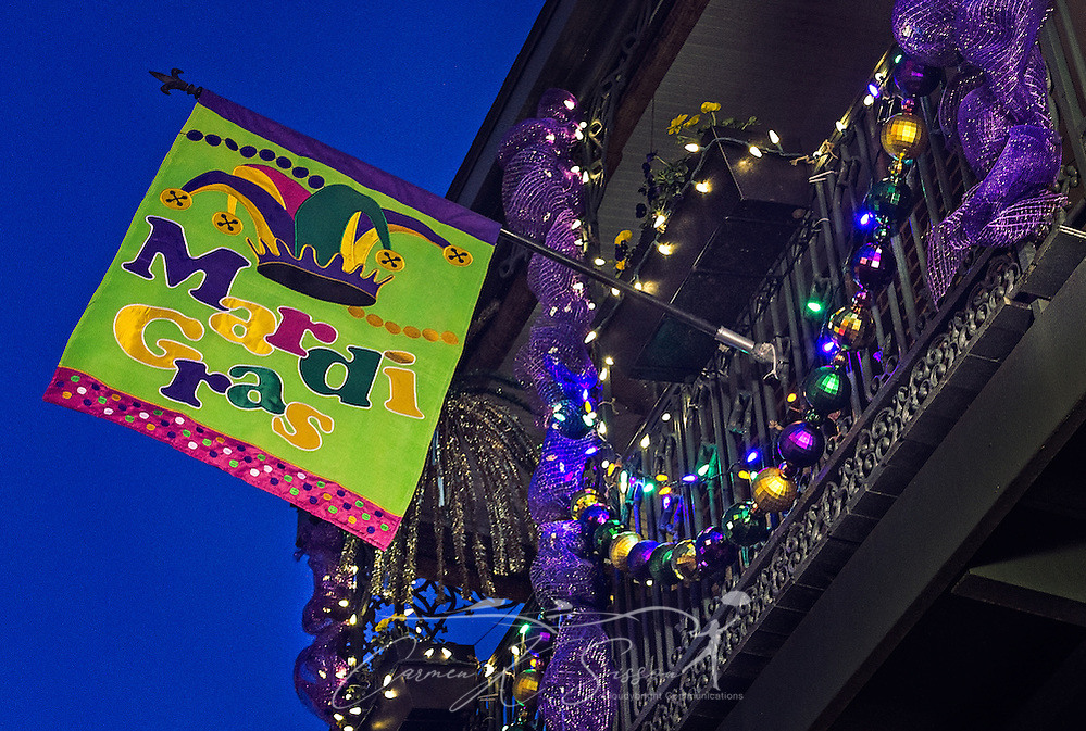 A balcony is decorated for Mardi Gras, January 14, 2017, on Dauphin Street in downtown Mobile.