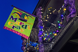 A balcony is decorated for Mardi Gras, January 14, 2017, on Dauphin Street in downtown Mobile, Alabama. Mobile considers itself the home of the nation's first Mardi Gras, dating back to 1703. The official colors of Mardi Gras are green, purple, and gold, representing faith, justice, and power. (Photo by Carmen K. Sisson/Cloudybright) (Carmen K. Sisson/Cloudybright)