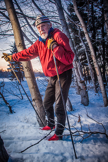 Retired printer and avid cross country skiier, Barry Johnson, near Westchester Lagoon, Anchorage (Clark James Mishler)