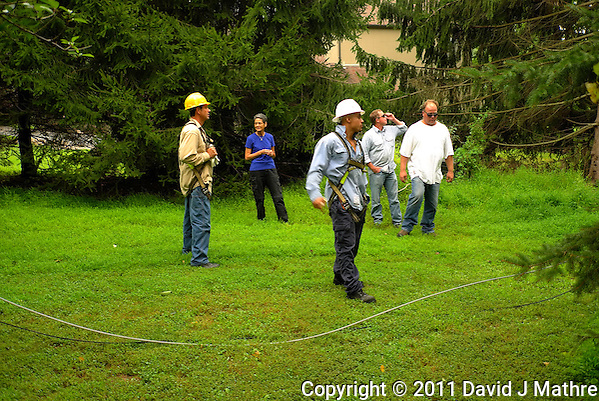 PSE&G Workers Viewing the Downed Power Line. Hurricane Irene. Image taken with a Leica X1 camera. (David J Mathre)