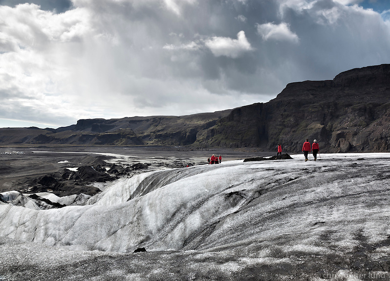 Hiking Sólheimajökull Glacier, South Iceland.