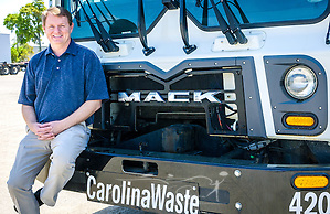 Scott Fennell, president and cofounder of Carolina Waste & Recycling LLC, is pictured at the corporate headquarters, April 6, 2015, in North Charleston, S.C. Approximately 95 percent of the 60-truck fleet is comprised of Macks. The company was founded in 2002 and is the largest independently owned waste hauling company in the state. (Photo by Carmen K. Sisson/Cloudybright) (Carmen K. Sisson/Cloudybright)