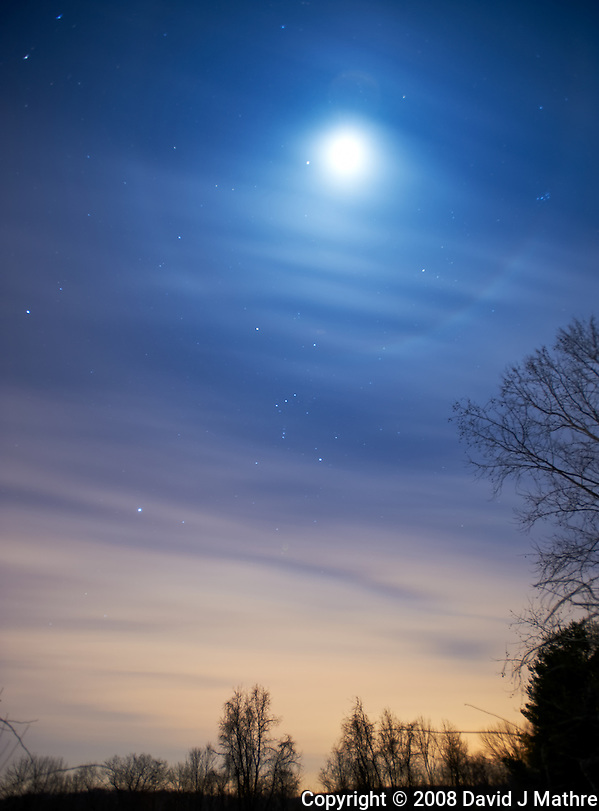 Winter Night Sky over New Jersey. Moon, moon ring, Orion. Image taken with a Nikon D3 and 17-35 mm f/2.8 lens (ISO 200, 17 mm, f/2.8, 30 sec). (David J Mathre)