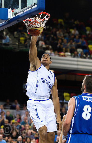 20 AUG 2014 - LONDON, GBR - Myles Hesson (GBR) from Great Britain dunks the ball during the men's 2015 EuroBasket 3rd Qualifying Round game against Iceland at the Copper Box Arena in the Queen Elizabeth Olympic Park in Stratford, London, Great Britain (PHOTO COPYRIGHT © 2014 NIGEL FARROW, ALL RIGHTS RESERVED) (NIGEL FARROW/COPYRIGHT © 2014 NIGEL FARROW : www.nigelfarrow.com)