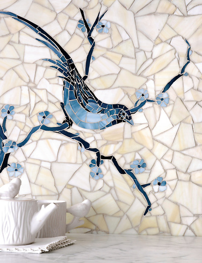 Chinoiserie is a hand cut jewel glass mosaic shown in Marcasite, Pewter, Mica with a Quartz Sea Glass background. (New Ravenna Mosaics 2013)