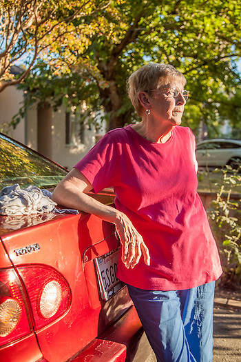 """The paint on my car is flaking off...I can't decide to paint it or to swallow my pride and drive it until it quits.""  MaryAnn Rulli, in front of her home in Calistoga. (Clark James Mishler)"