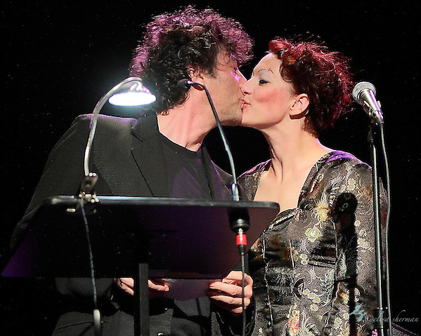 "Neil Gaiman and Amanda Palmer perform on November 9th, 2011 during the ""An Evening with Neil Gaiman & Amanda Palmer""  at the Moore Theatre. (Elisa Sherman)"