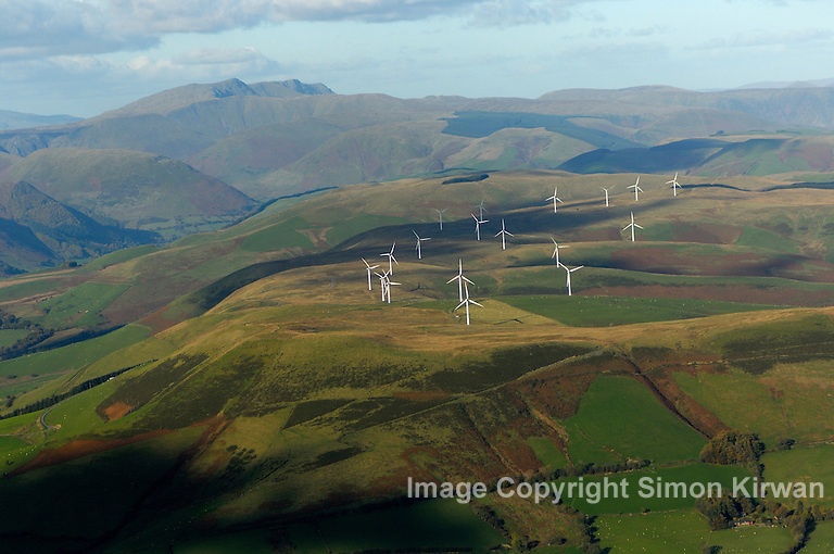 Cemmaes Wind Farm, Powys from the Air - Aerial Photo By Simon Kirwan