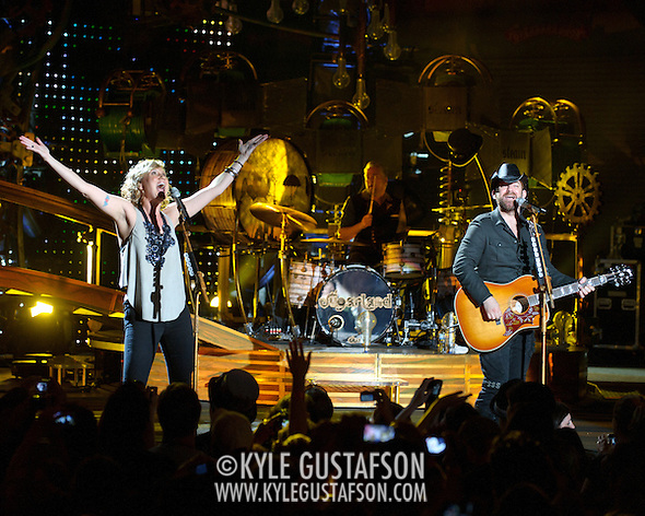 COLUMBIA, MD - May 22nd, 2011: Kristian Bush, and Jennifer Nettles of Sugarland perform at Merriweather Post Pavilion. The band released their fourth album, The Incredible Machine, in October of 2010. (Photo by Kyle Gustafson/For The Washington Post) (Photo by Kyle Gustafson / For The Washington Post)