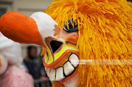 BASEL, SWITZERLAND - MARCH 02, 2009: Closeup of the Waggis Basel Carnival mask in Basel, Switzerland. (Dmitry Chulov)