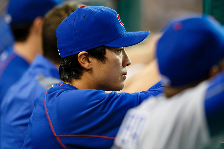 Jun 9, 2015; Detroit, MI, USA; Chicago Cubs starting pitcher Tsuyoshi Wada (18) watches from the dugout in the sixth inning against the Detroit Tigers at Comerica Park. Mandatory Credit: Rick Osentoski-USA TODAY Sports (Rick Osentoski/Rick Osentoski-USA TODAY Sports)