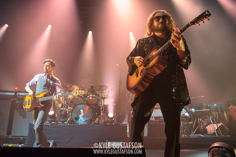 TOM BLANKENSHIP, PATRICK HALLAHAN and JIM JAMES of My Morning Jacket perform at Merriweather Post Pavilion in Columbia, MD.(Photo by Kyle Gustafson) (Photo by Kyle Gustafson)