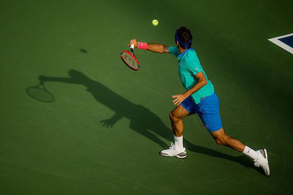 Roger Federer, 2014 U.S. Open Men's Semifinal. Photographed at the Billie Jean King National Tennis Center in Queens, NY, USA 9/6/2014. © 2014 Darren Carroll (Darren Carroll)