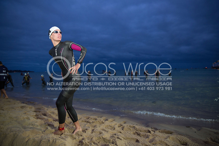 Caroline Steffen (SUI), March 23, 2014 - Ironman Triathlon : Swim Course. Ironman Melbourne Race Race, Frankston Swim Course/Transition, Melbourne, Victoria, Australia. Credit: Lucas Wroe (Lucas Wroe)