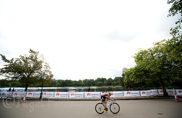 12 SEP 2013 - LONDON, GBR - Lucy Hall (GBR) of Great Britain attempts a lone break during the under 23 women's ITU 2013 World Triathlon Championships in Hyde Park in London, Great Britain (PHOTO COPYRIGHT © 2013 NIGEL FARROW, ALL RIGHTS RESERVED) (NIGEL FARROW/COPYRIGHT © 2013 NIGEL FARROW : www.nigelfarrow.com)