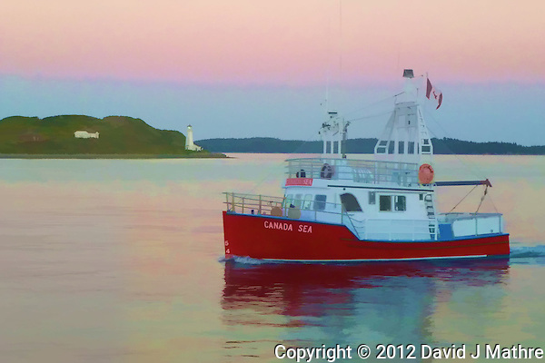 Canada Sea Fishing Boat on the Halifax Harbor at Sunset. Image taken with a Leica V-Lux 30 camera (ISO 400, 13.6 mm, f/4.7, 1/80 sec). Image processed with Capture One Pro 6, Photoshop CS6, and the Topaz Painterly filter. (David J Mathre)