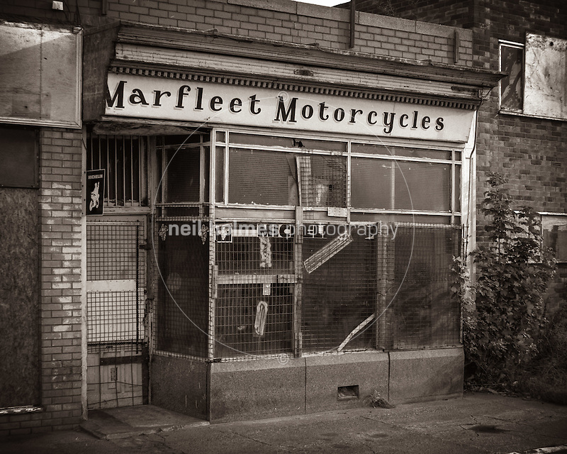 Hedon Road, Kingston Upon Hull, East Yorkshire, United Kingdom, 7 September 1999. Pictured: Marfleet Motorcycles (Neil Holmes)