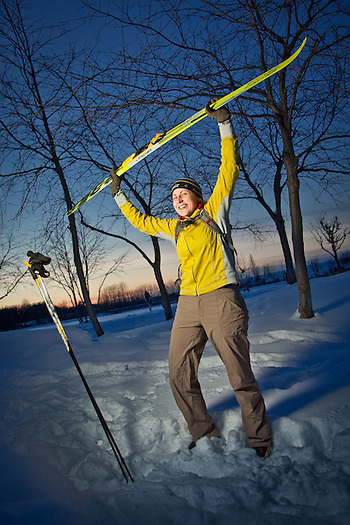 Aubrey Morrison celebrates her first ski of the season at the end of a beautiful day at Westchester Lagoon, Anchorage (Clark James Mishler)