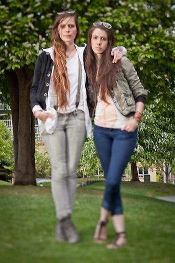Megan Stalder and Kamilah Brangan, Town Square, downtown, Anchorage (Clark James Mishler)