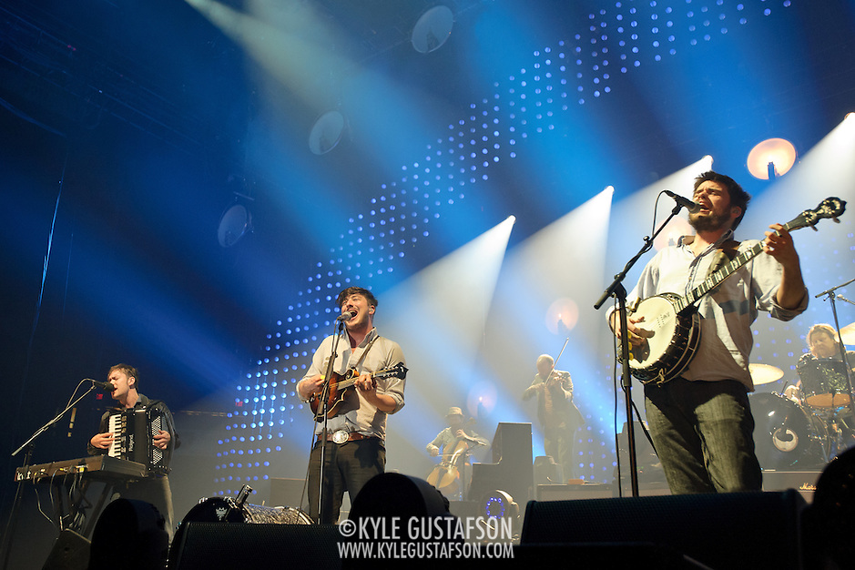 FAIRFAX, VA - February 13th,  2013 - Fresh off their Grammy win for 2013 Album of the Year, Ben Lovett, Marcus Mumford and Winston Marshall of British folk outfit Mumford & Sons begin a two night stand at the Patriot Center in Fairfax, VA. Babel, the band's sophomore album, debuted at number one in both the UK and US album charts. (Photo by Kyle Gustafson/For The Washington Post) (Kyle Gustafson/For The Washington Post)