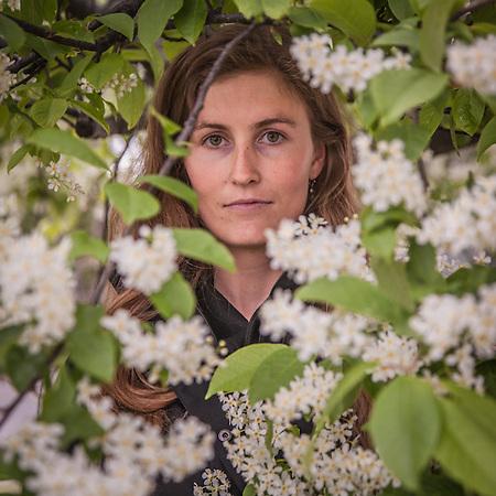 Elizabeth Slatery inside a flowering May tree on the Delaney Park Strip, Anchorage  elizabeth.slattery@alaska.gov (© Clark James Mishler)