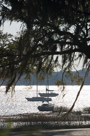 Boats sit at anchor in the Beaufort River. ©2004 Greg Smith (©2004 Greg Smith/mediaSmith)