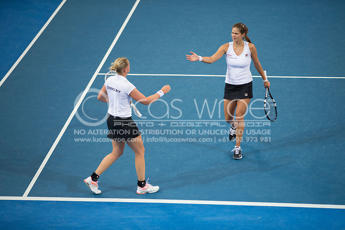 Julia Görges (GER) and Anna-Lena Groenefeld (GER), April 20, 2014 - TENNIS : Fed Cup, Semi-Final, Australia v Germany. Pat Rafter Arena, Brisbane, Queensland, Australia. Credit: Lucas Wroe (Lucas Wroe)