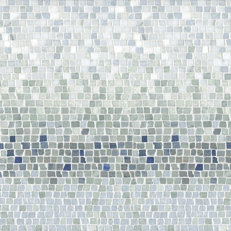 Name: Mist 1.5 cm (hand chopped-tumbled) Style: Metamorphosis Product Number: CB0621 Description: Mist 1.5cm in Blue Macauba, Kay's Green, Celeste (hct) (New Ravenna Mosaics)