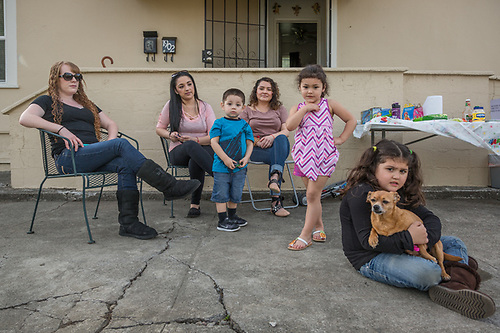 Cassie Bohan, Aly Hernandez and Liz Solano with Franco (2), Isabella (4), and Annabelle (6) participate in their first outdoor bar-b-que/birthday party of the year on Harley Street in Calistoga. (Clark James Mishler)