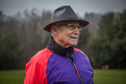 Retired American Airlines pilot and occasional dog watcher Michael Bode on a rainy day in Calistoga. (Clark James Mishler)