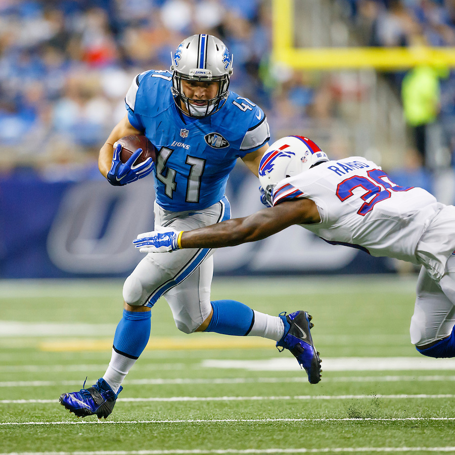 Detroit Lions running back Zach Zenner (41) rushes on Buffalo Bills strong safety Bacarri Rambo (30) during an preseason NFL football game at Ford Field in Detroit, Thursday, Sept. 3, 2015. (AP Photo/Rick Osentoski) (Rick Osentoski/AP)