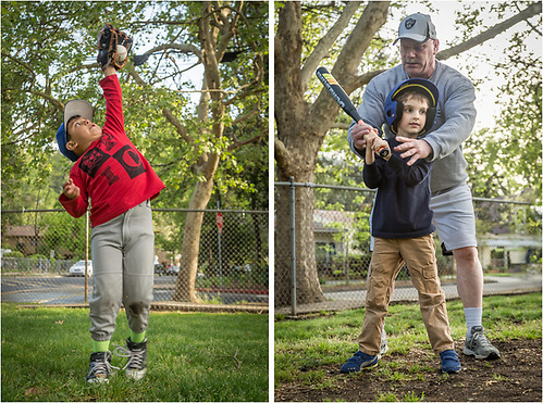 """Summer can not be far away as six year old Kevin Rios goes up for a high hard one and five year old Roland King gets batting instruction from head coach Darren Bohan during the second practice of the new season for the """"Bocats"""" T-Ball team at Calistoga Elementary School. (Clark James Mishler)"""