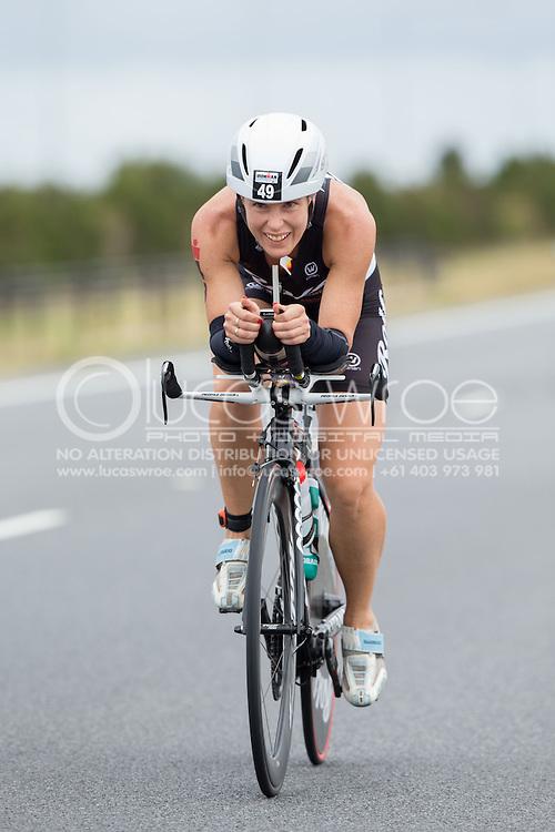 Kate Belivaqua (AUS), March 23, 2014 - Ironman Triathlon : Bike Course. Ironman Melbourne Race, Bike Cycle Course Between Frankston And Ringwood Tunnel, Melbourne, Victoria, Australia. Credit: Lucas Wroe (Lucas Wroe)