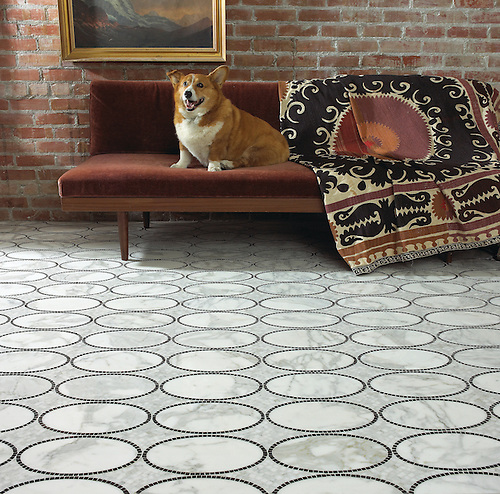 Solid Ovals hand crafted mosaic floor in Calacatta Tia and Nero Marquina (New Ravenna Mosaics)