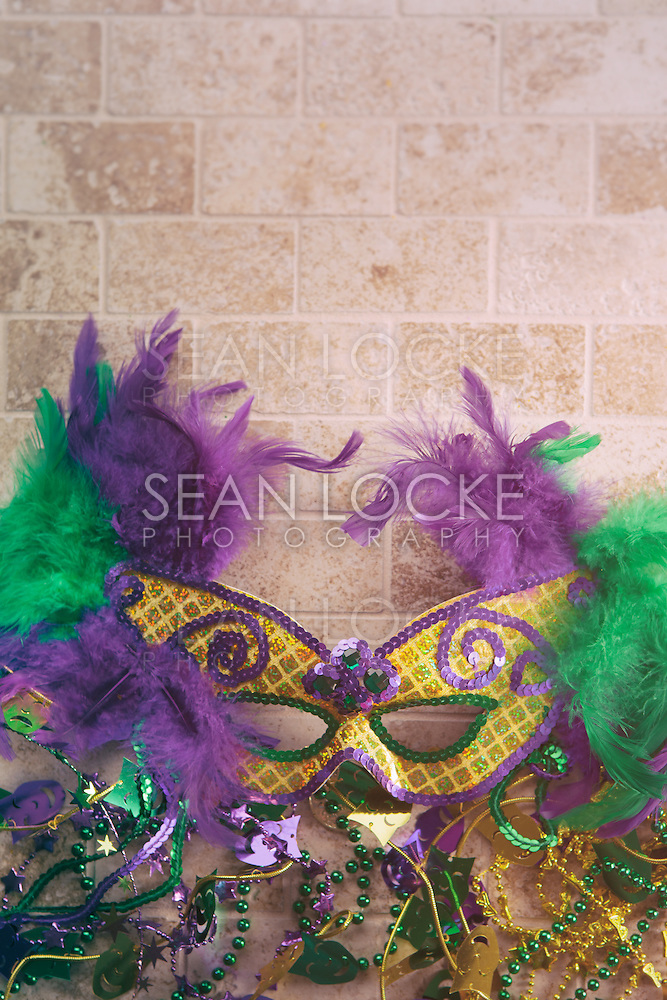 Series for the celebration of Mardi Gras, including Hurricane drinks, a King Cake, masks and trinkets. (Sean Locke/copyright Sean Locke @ seanlockephotography.com)