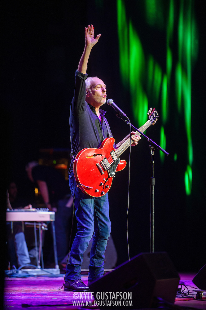 "COLUMBIA, MD - May 14, 2015 - Peter Frampton performs ""(I'm A) Roadrunner"" during the Dear Jerry: Celebrating the Music of Jerry Garcia concert at Merriweather Post Pavilion in Columbia, MD. (Photo by Kyle Gustafson / For The Washington Post) (Kyle Gustafson/For The Washington Post)"