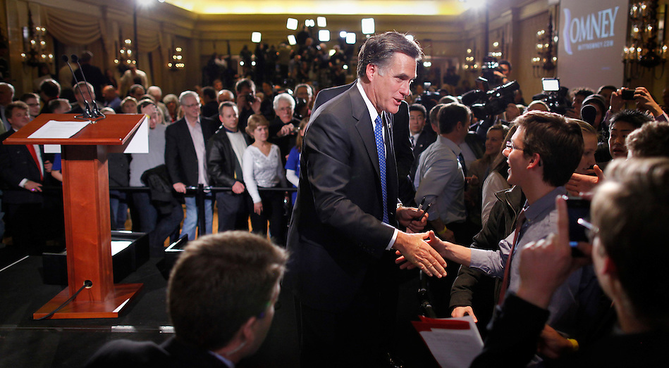 Mitt Romney greets supporters following the Iowa caucus Tuesday, January 3, 2012 in Des Moines, Iowa.  (Christopher Gannon/GannonVisuals.com/MCT) (Christopher Gannon)