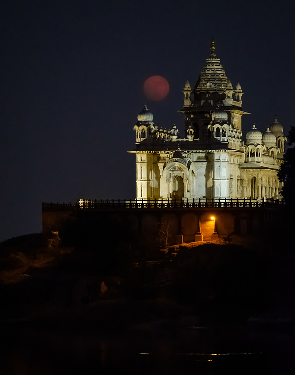 JODHPUR, INDIA - CIRCA NOVEMBER 2016: Jaswant Thada Memorial at night during 2017 super moon. (Daniel Korzeniewski)