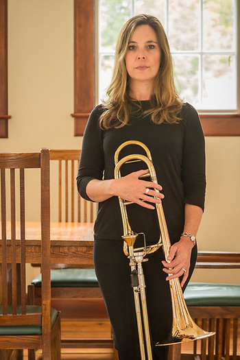 Trombonist and educator Donna Parkes at the Sitka Fine Arts Camp, Sitka, Alaska (Clark James Mishler)