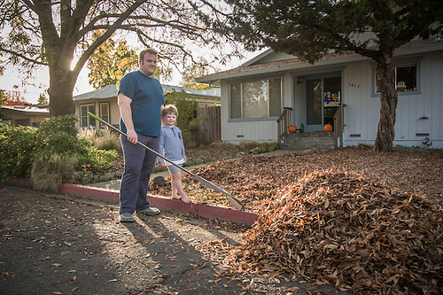 "Euro Spa owner John T. Kennedy with his four year old son, Jacob, in front of this house on Harley Street in Calistoga.  ""...what do I want in life...I'm doing it...I love being an entrepenure!"" (Clark James Mishler)"
