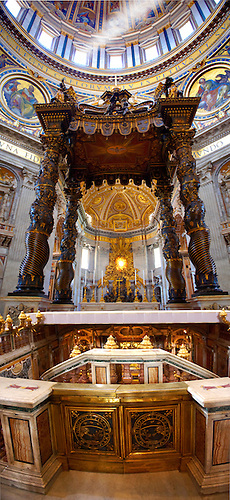 The Tomb of St. Peter and Baroque Canopy ( baldacchino) by Bernini in St Peter's, The Vatican, Rome (Paul Williams)